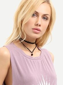 Black Pendant Ribbon Choker Necklace