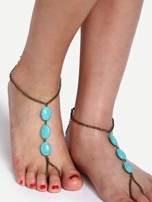 Antique Waterdrop Shaped Turquoise Foot Chain
