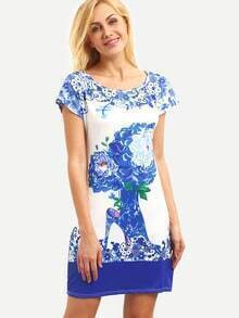 Blue and White Print Sheath Dress