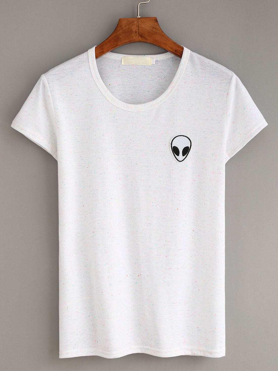 White alien embroidery patch slub t shirtfor women romwe