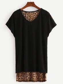 V Neck Leopard Dip Hem T-Shirt