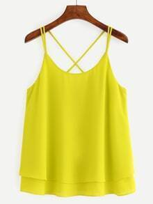 Crisscross Layered Chiffon Cami Top - Yellow