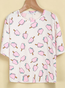 White Short Sleeve Popsicles Print T-Shirt