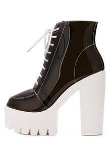 Black Lace-up Platform Chunky Boots