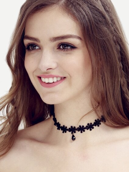 Black Waterdrop Pendant Lace Choker