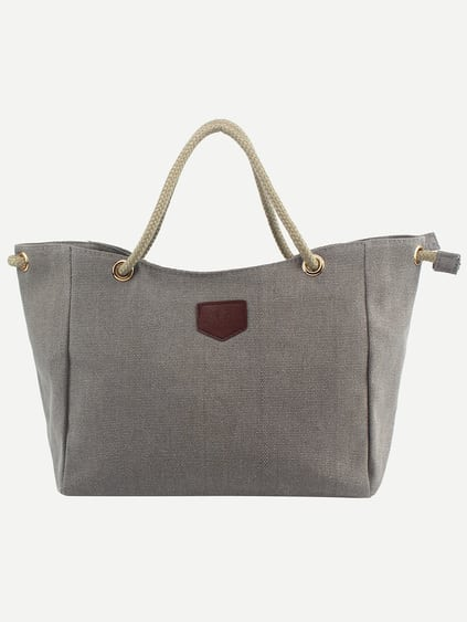 Rope Handle Canvas Tote Bag - Grey
