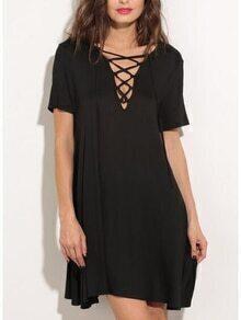 Black V Neck Lace Up T Shirt Dress