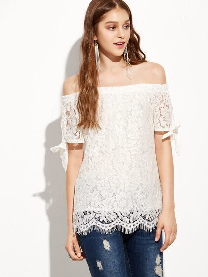 Off-The-Shoulder Tie-Sleeve Lace Top - White - $10.99