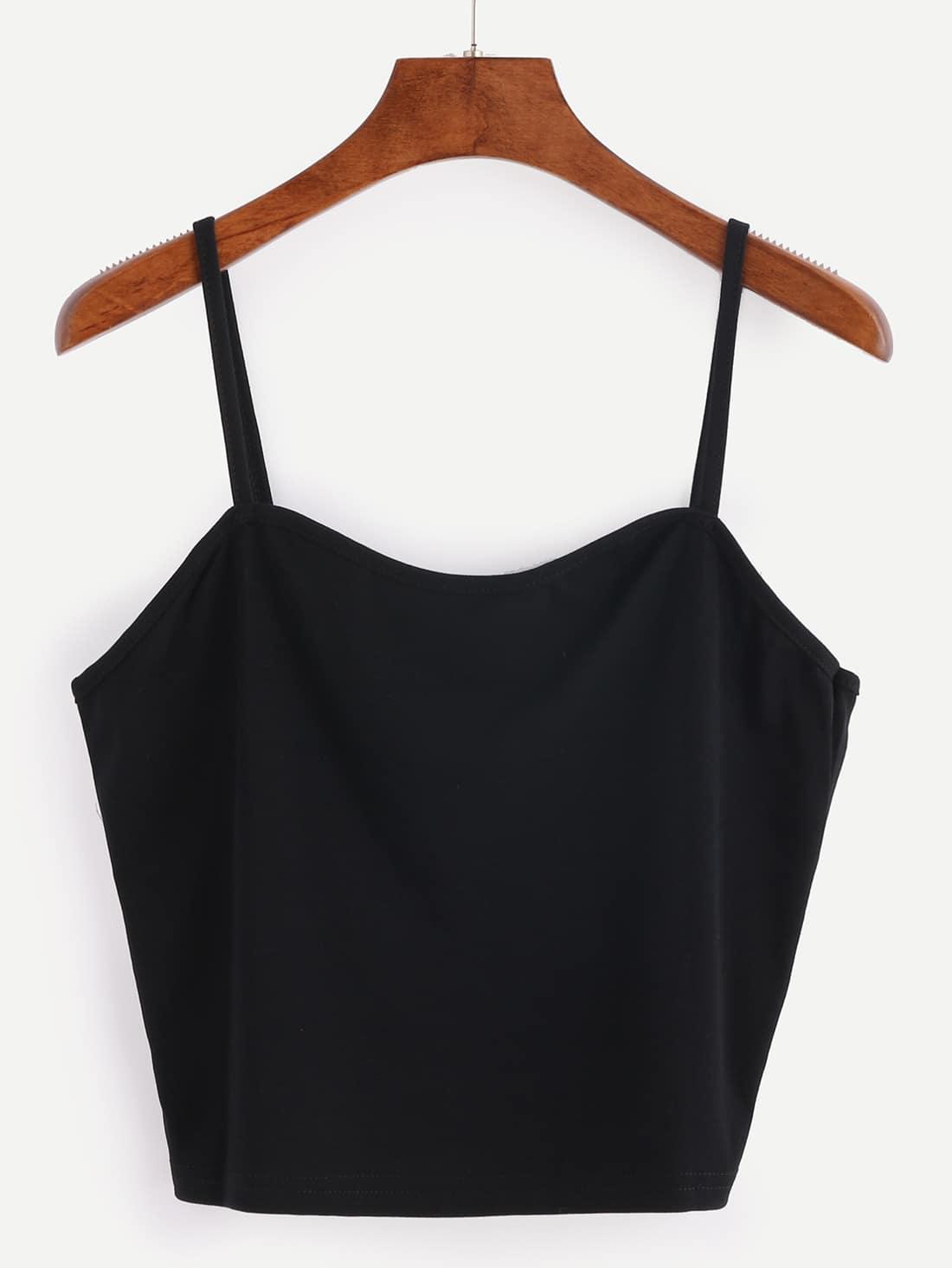 Binding Crop Cami Top - Black