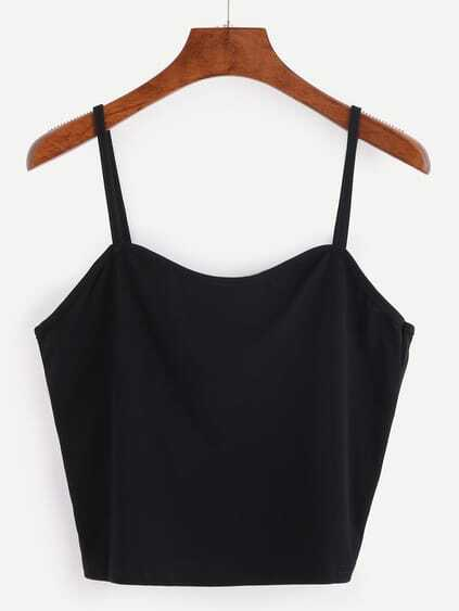 Binding Crop Cami Top - Black