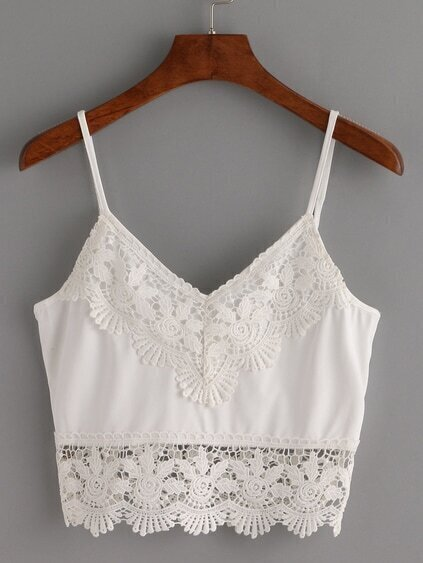 Crochet Trimmed Crop Cami Top - White