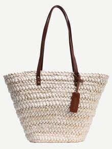 Contrast Handle Straw Tote Bag - White