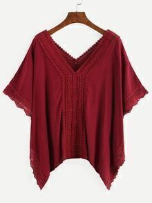 Double V-Neck Lace Trimmed Blouse - Burgundy
