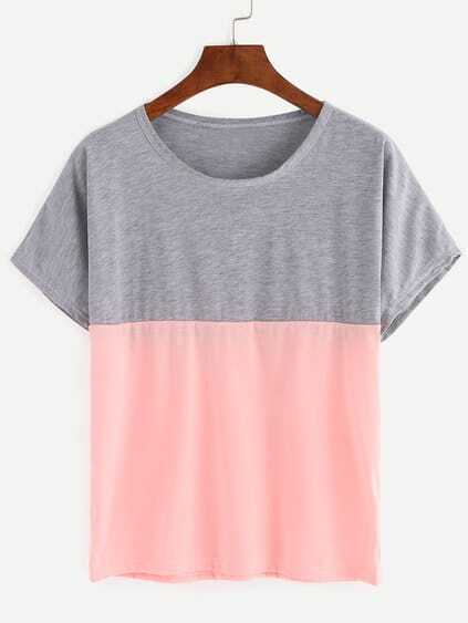 Grey And Pink Color Block loose T-shirt