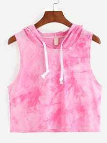 Hooded Tie-dye Pink Sleeveless Top