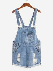 Blue Ripped Overalls Short Dungarees