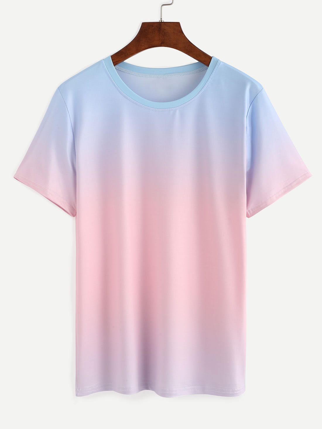 Blue Pink Ombre T Shirtfor Women Romwe