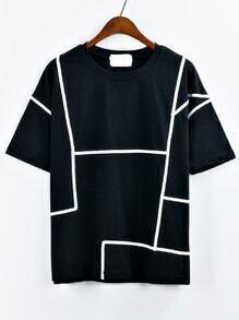 T-Shirt Rundhals mit fallendem Schulter kontrast Band
