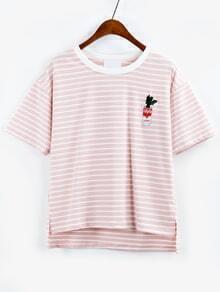 Camiseta cactus bordado rayas asimétrico -rosa