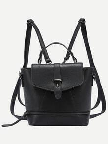 Faux Leather Zip Front Multiway Flap Backpack - Black