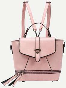 Faux Leather Zip Front Multiway Flap Backpack - Pink