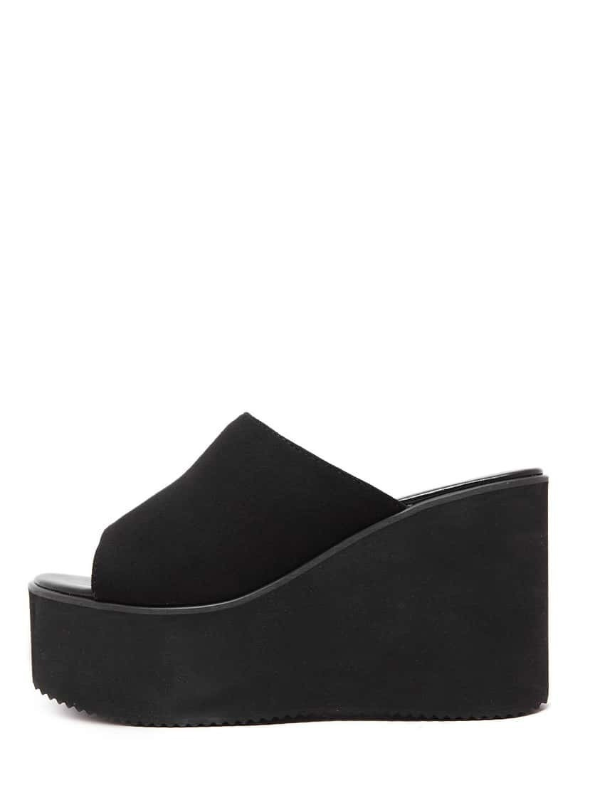 Black Peep Toe Faux Suede Wedges Image