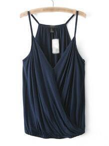 Navy Spaghetti Strap V Neck Tank Top