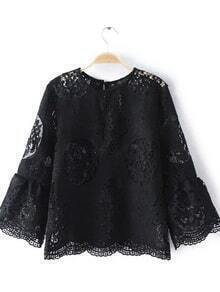 Black Bell Sleeve Hollow Lace Blouse