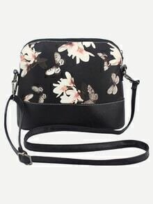 Flower & Butterfly Print Crossbody Bag - Black