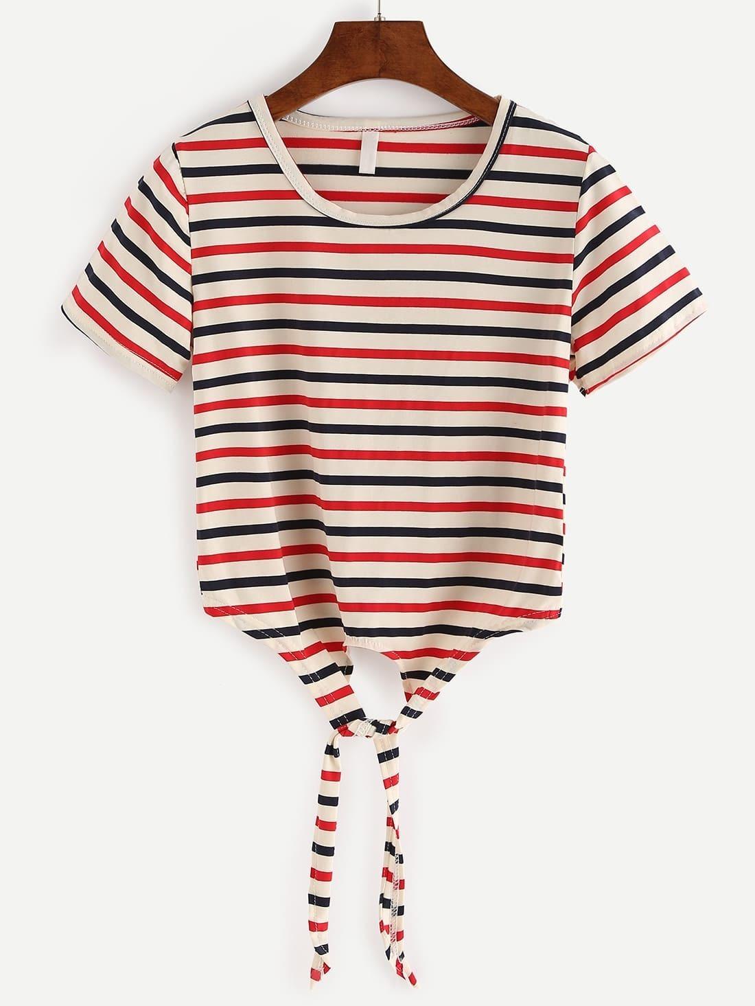 Tie front multicolor striped crop t shirtfor women romwe for Striped tie with striped shirt