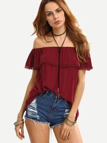 Off The Shoulder Ruffle Pom-Pom Shirt