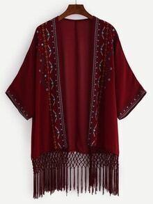 Embroidered Lattice Embellished Fringe Chiffon Kimono