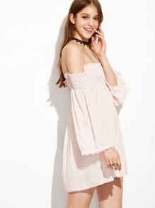 Off The Shoulder Bell Sleeve Lace Trimmed Pink Dress