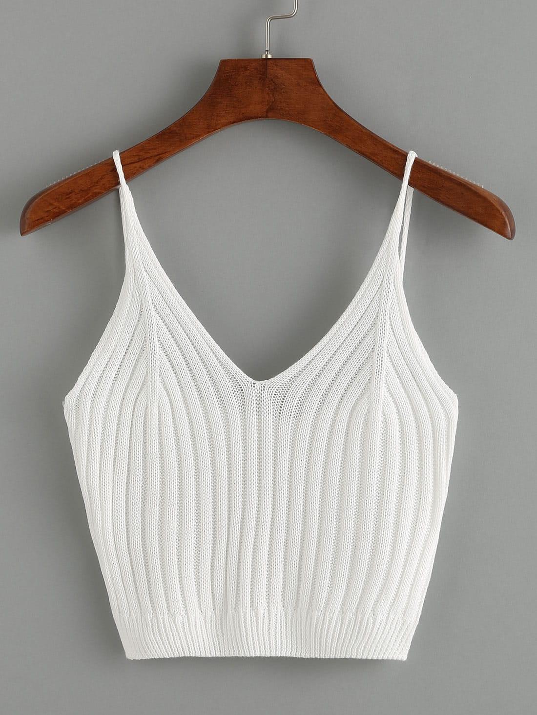 Ribbed Knit Crop Cami Top vest160603008