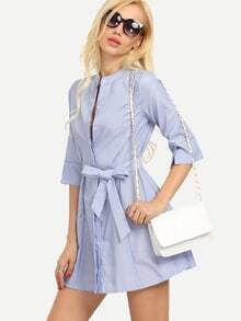 Self-Tie Striped Collarless Shirt Dress - Blue
