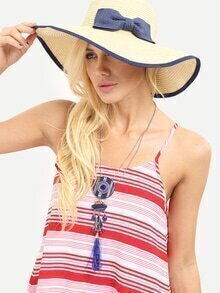 Beige Bow Decorated Large Brimmed Straw Hat