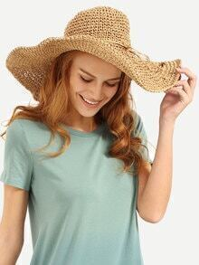 Brown Collapsible Large Brimmed Straw Hat