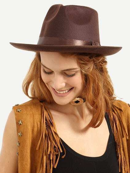 Coffee Vintage Bow Decorated Fedora Hat