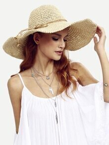 Beige Collapsible Large Brimmed Straw Hat