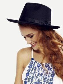 Black Vintage Bow Decorated Fedora Hat