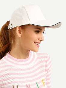 White Casual Cotton Baseball Hat