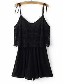 Black Spaghetti Strap Lace Jumpsuit