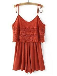 Red Spaghetti Strap Lace Jumpsuit