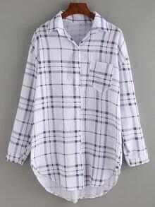 Blusa bolsillo cuadros -negro blanco