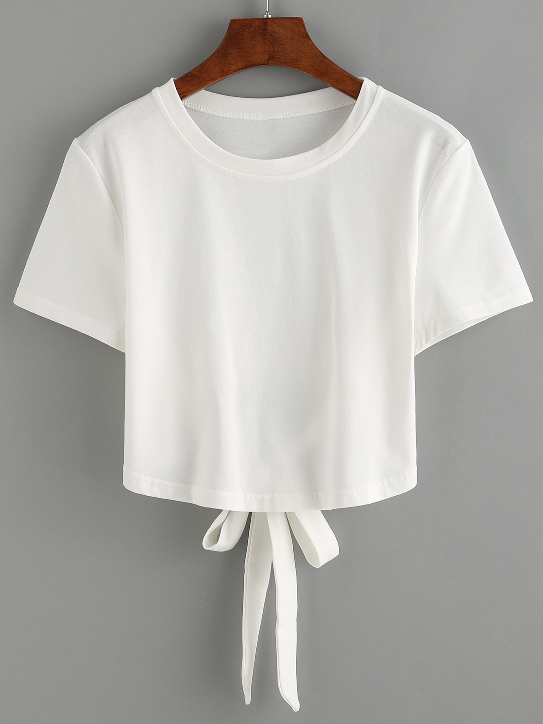white tie back crop t shirtfor women romwe. Black Bedroom Furniture Sets. Home Design Ideas
