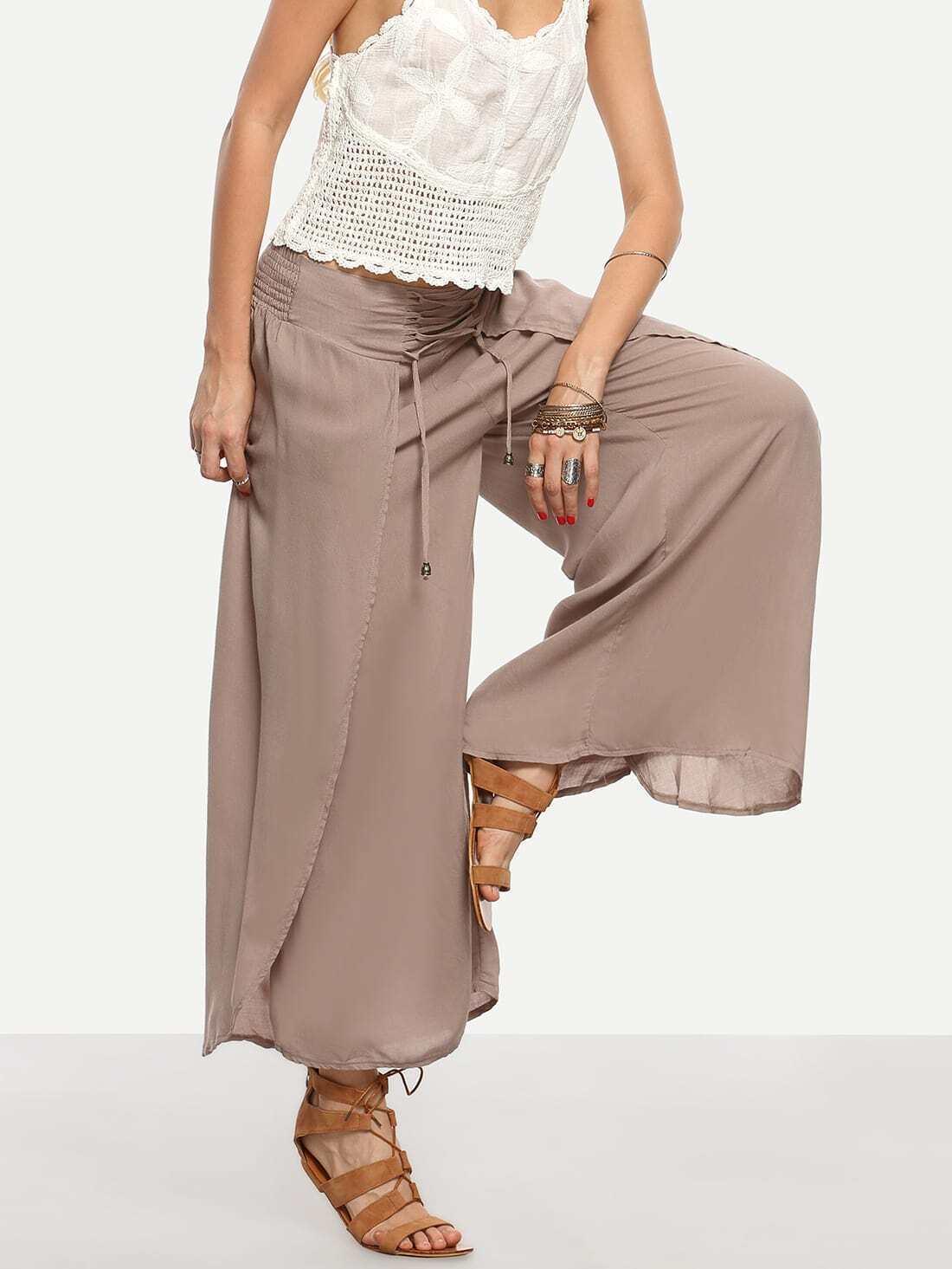 pantalon large lacets kaki french romwe. Black Bedroom Furniture Sets. Home Design Ideas