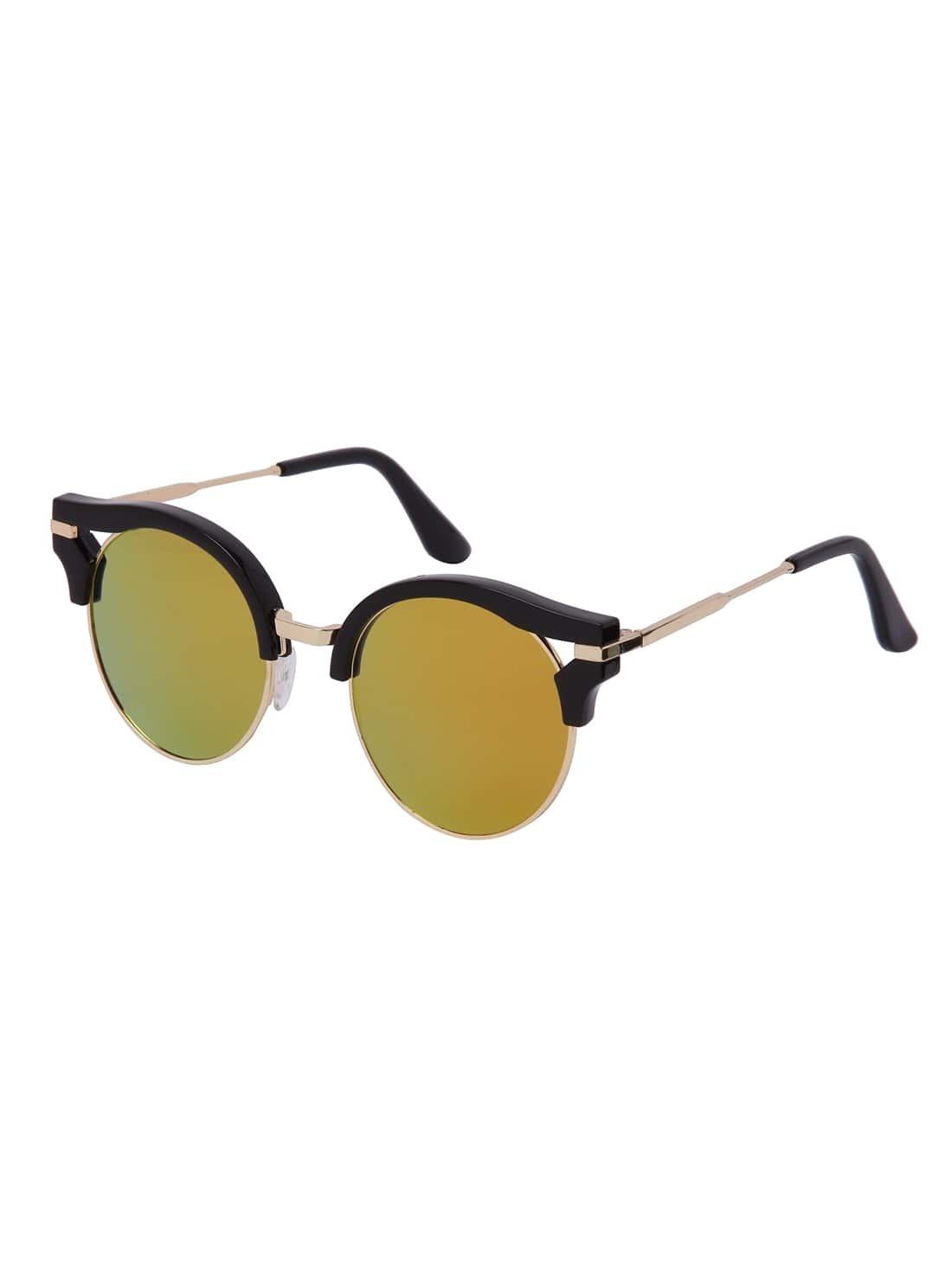 Black Half Frame Glasses : Black Half-frame Round Lenses Sunglasses