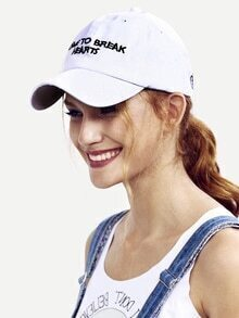 White Letters Decorated Baseball Hat