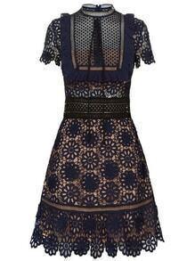 Navy Tie Neck Crochet Hollow Out Dress