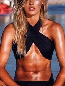 Criss Cross Halter Neck Black Bikini Top